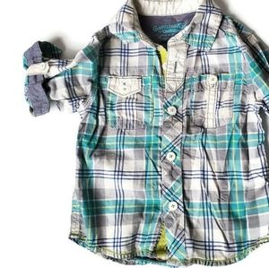 OshKosh Boy's Size 2T Plaid Button Down Shirt EUC